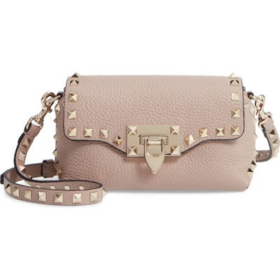 Valentino Garavani Rockstud Mini Calfskin Leather Crossbody - Beige