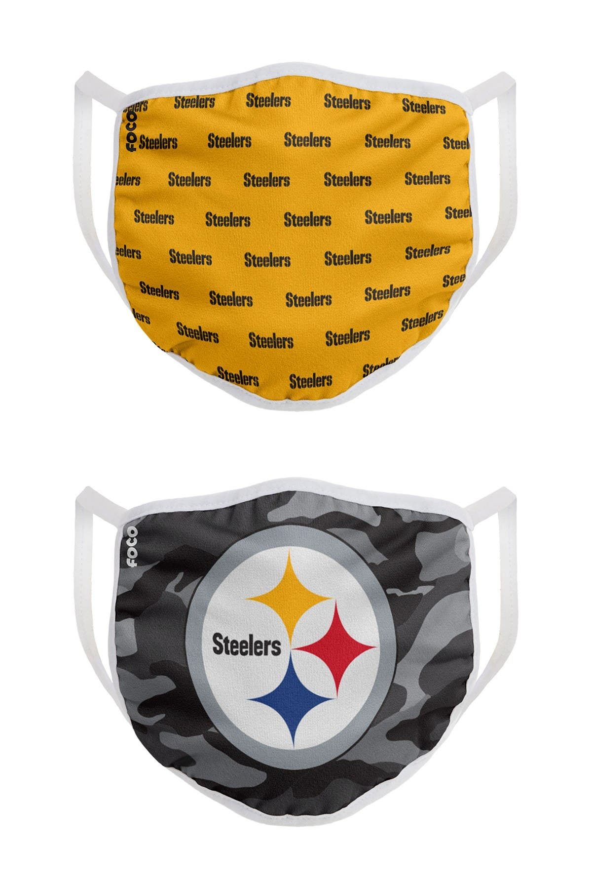 Image of FOCO NFL Pittsburgh Steelers Clutch Printed Face Cover - Pack of 2