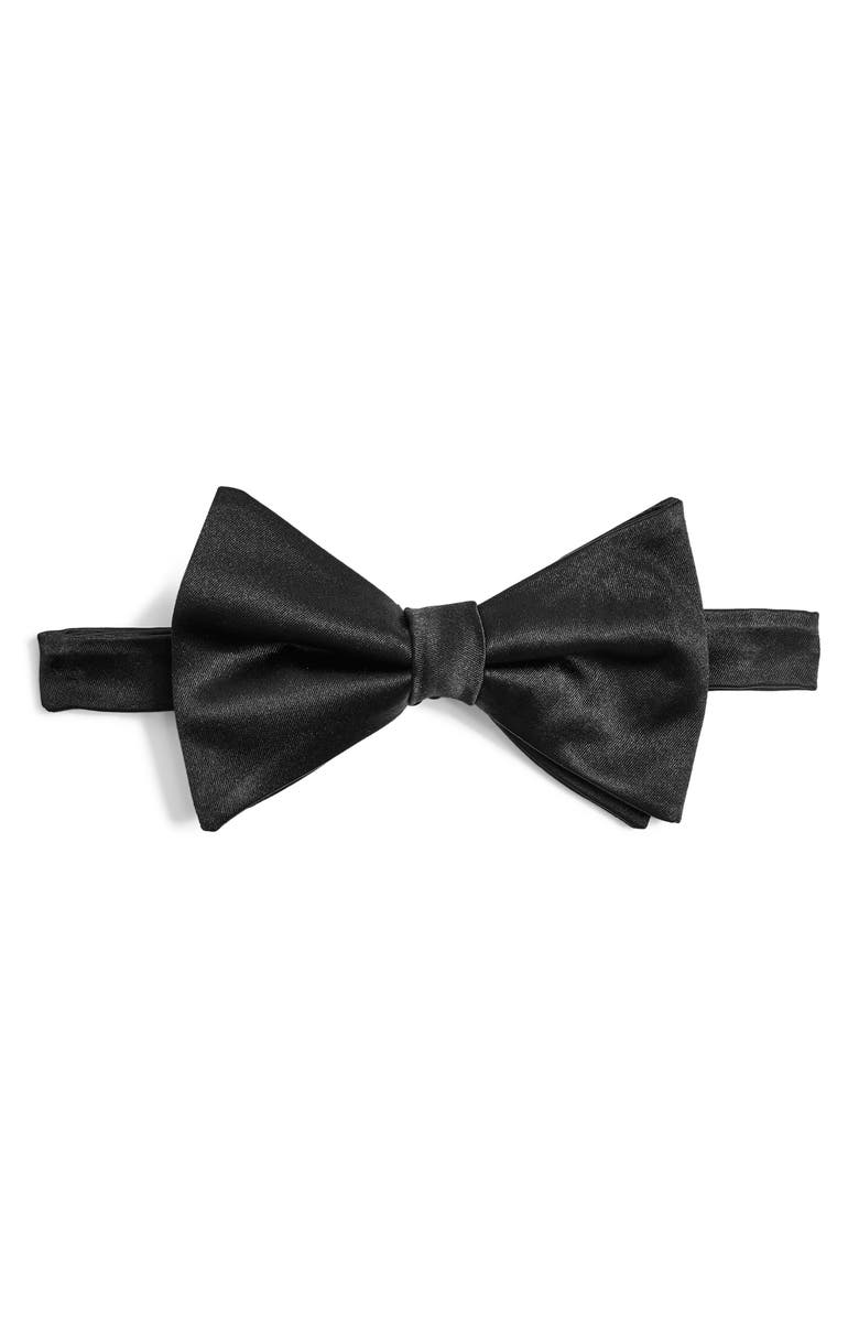 TOPMAN Premium Black Silk Bow Tie, Main, color, BLACK