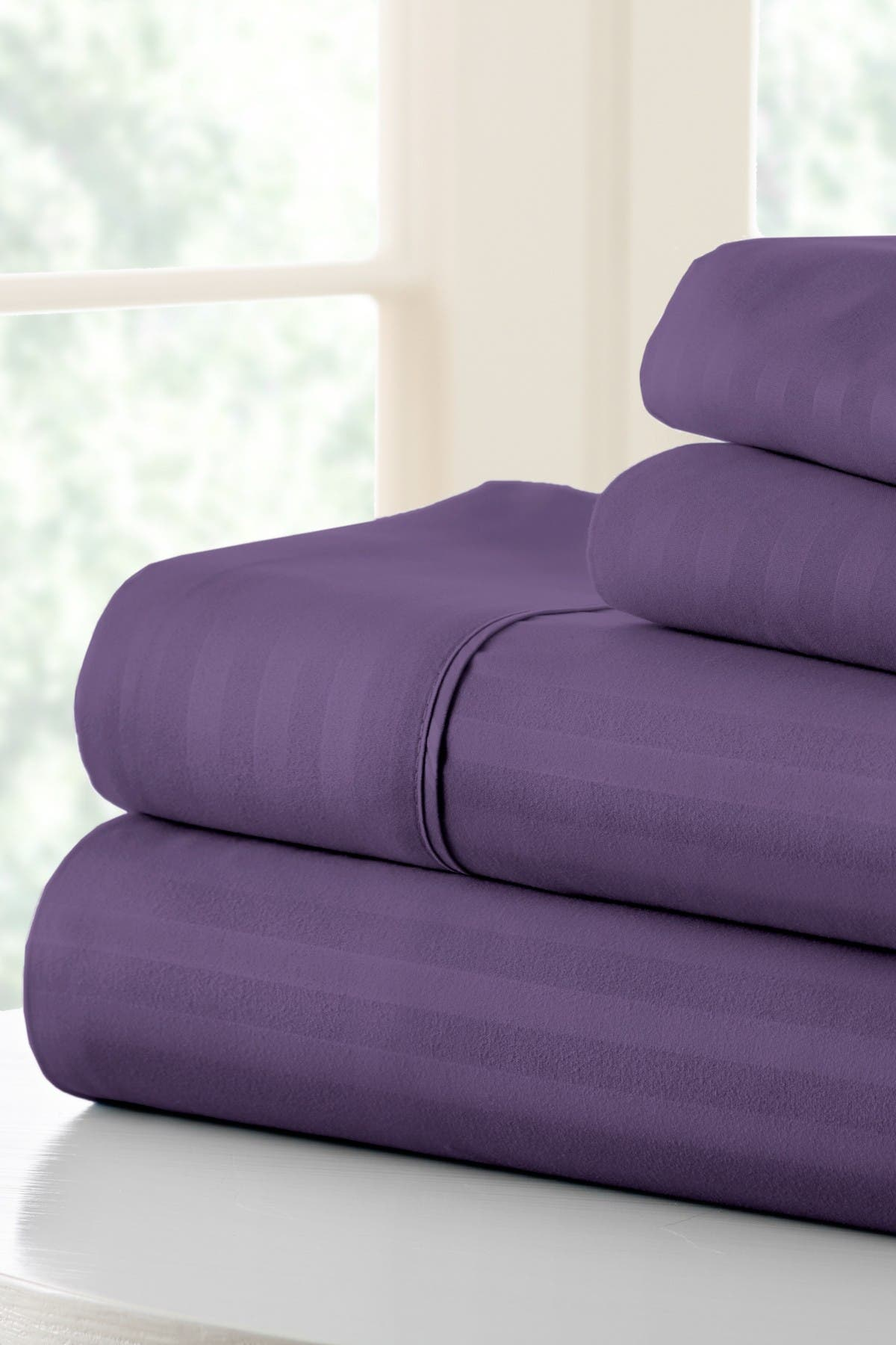 Image of IENJOY HOME Queen Hotel Collection Premium Ultra Soft 4-Piece Striped Bed Sheet Set -Purple