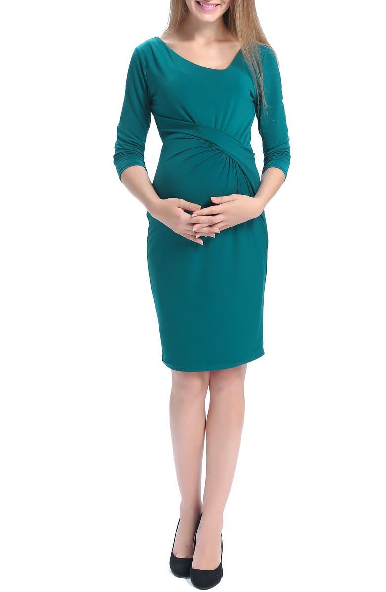 KIMI AND KAI Teagan Body-Con Maternity Dress, Main, color, TEAL