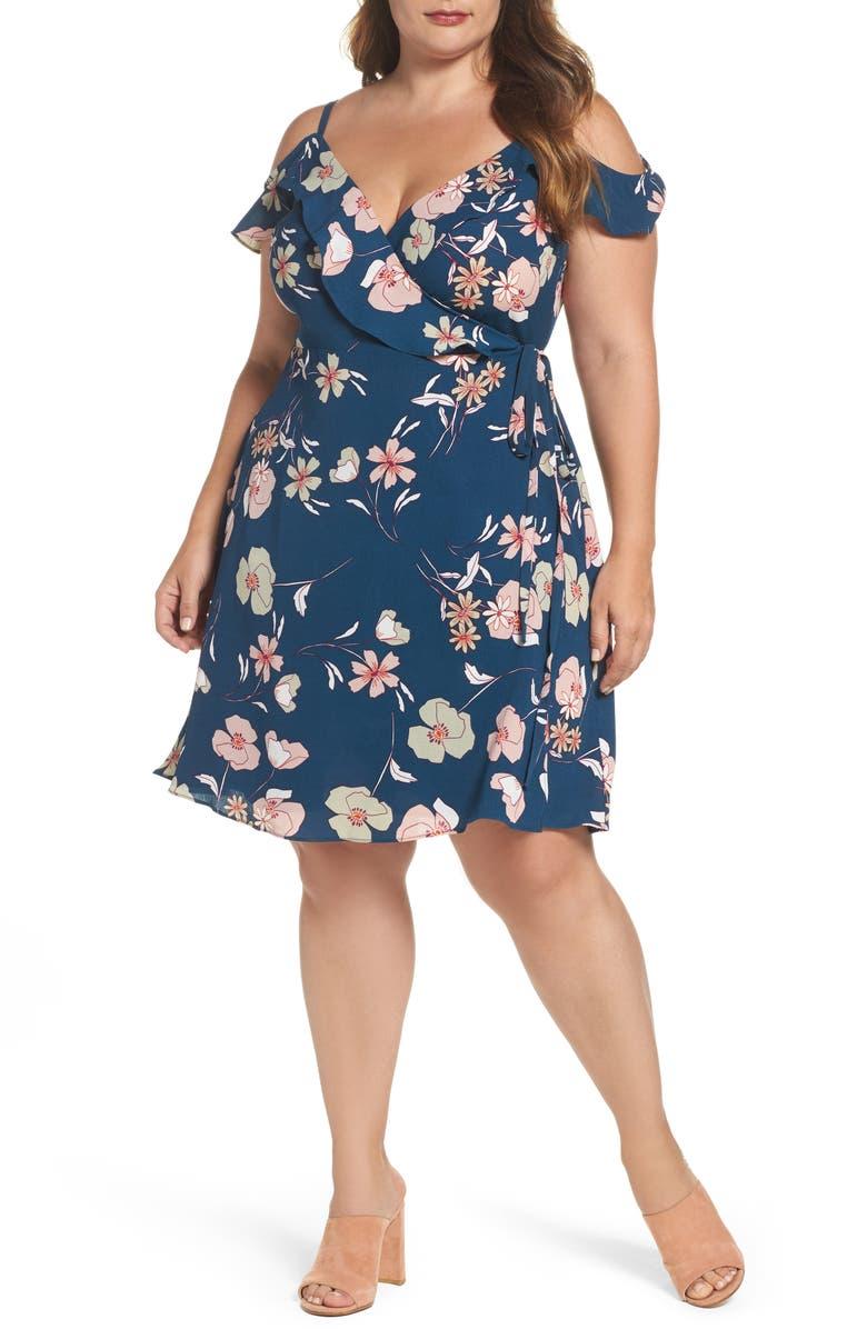CITY CHIC Lulu Floral Wrap Dress, Main, color, 656
