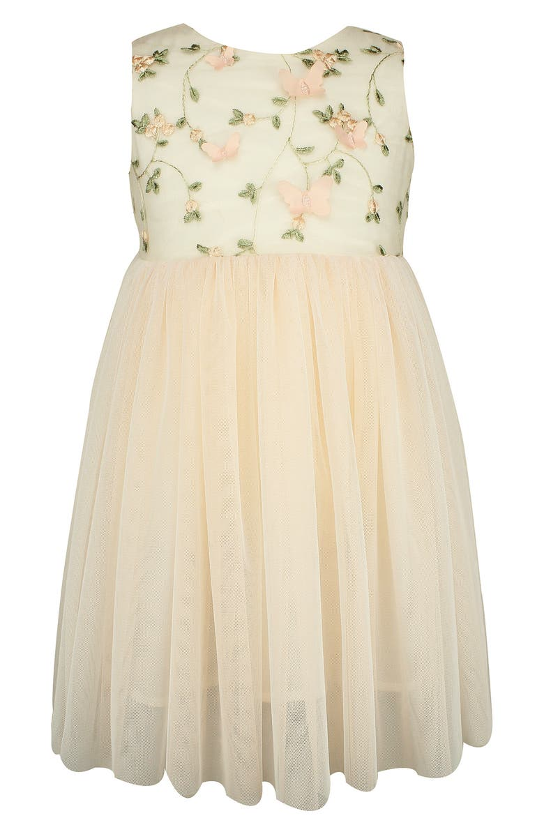 POPATU Floral Embroidered Fit & Flare Dress, Main, color, WHITE/ PINK