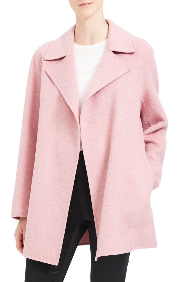 THEORY Wool & Cashmere Overlay Coat, Main, color, WINTER PINK MELANGE