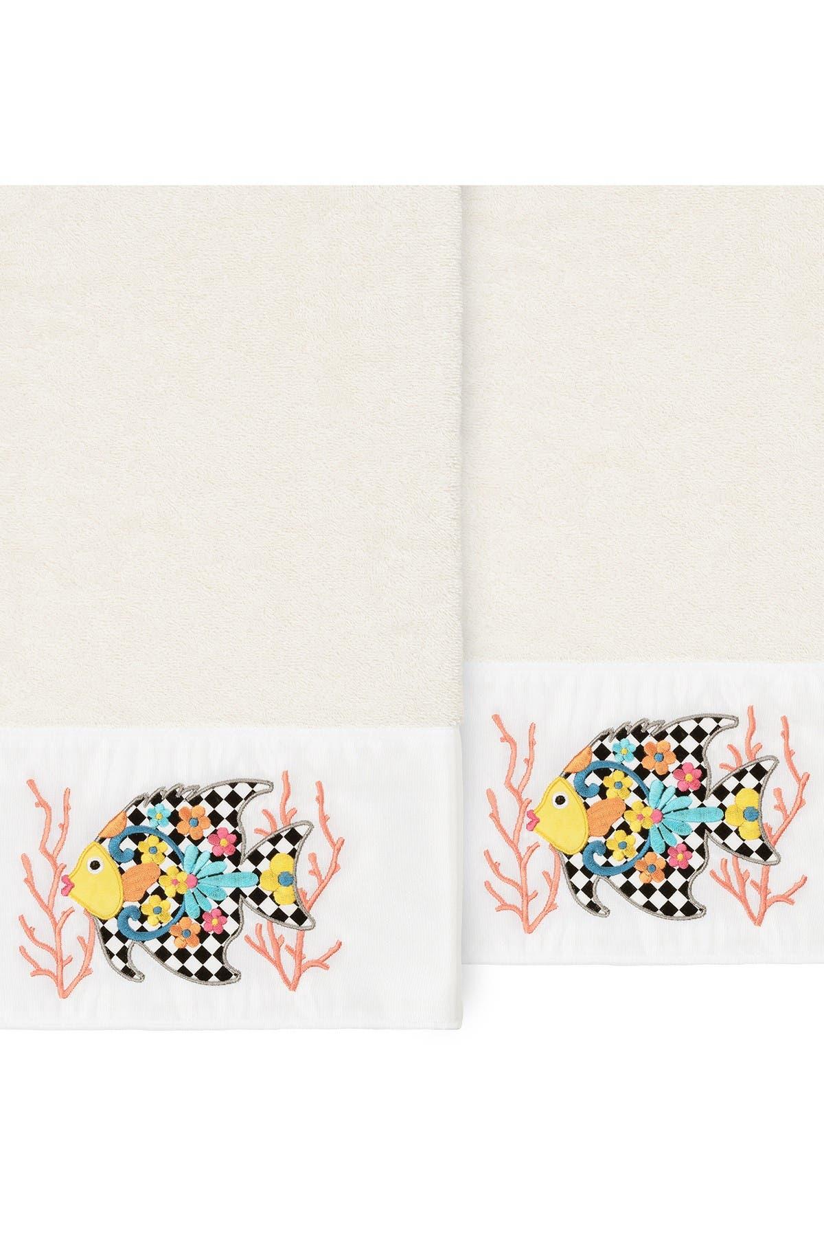 Image of LINUM HOME Feliz Embellished Bath Towel - Set of 2 - Cream