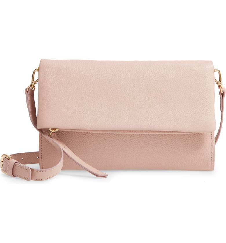 NORDSTROM Eleanor Leather Crossbody Bag in PINK SAND. #handbags #purses #crossbody #palepink