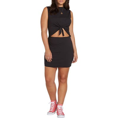 Plus Size Volcom Last Drink Cutout Tie Waist Minidress, Black