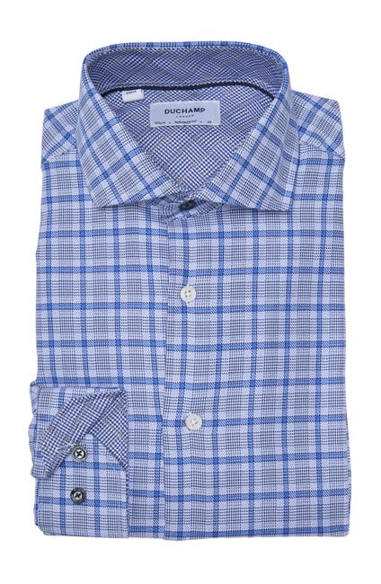 Image of DUCHAMP Plaid Long Sleeve Woven Dress Shirt