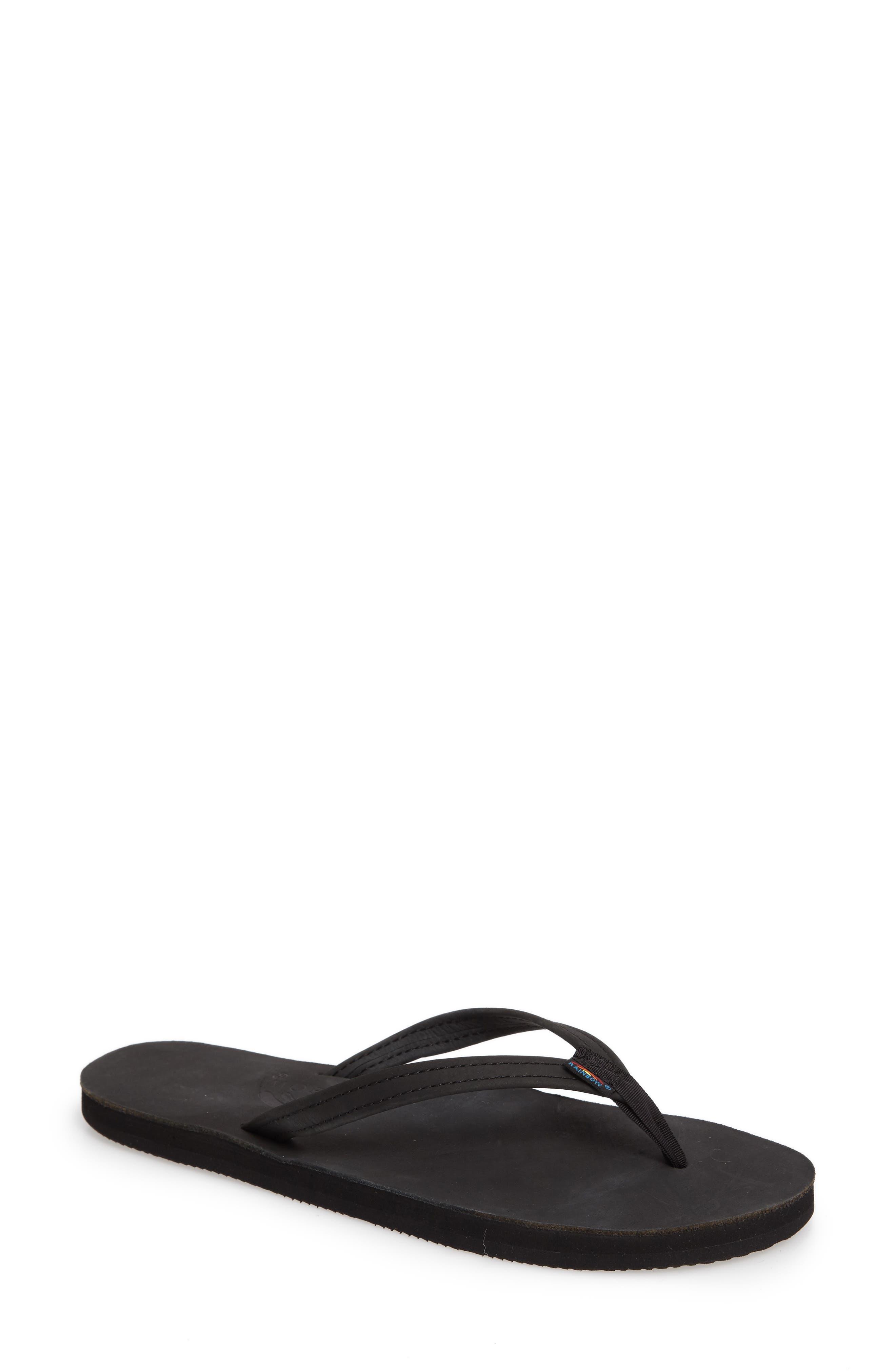 Rainbow Narrow Strap Sandal, Main, color, BLACK