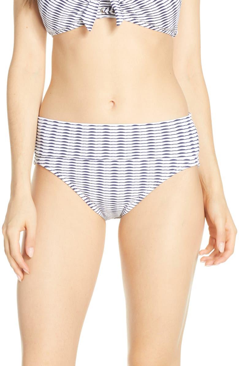 TOMMY BAHAMA Island Cays Stripe High Waist Bikini Bottoms, Main, color, WHITE