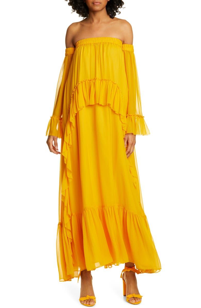 AMUR Odessa Off the Shoulder Polka Dot Silk Maxi Dress, Main, color, 700