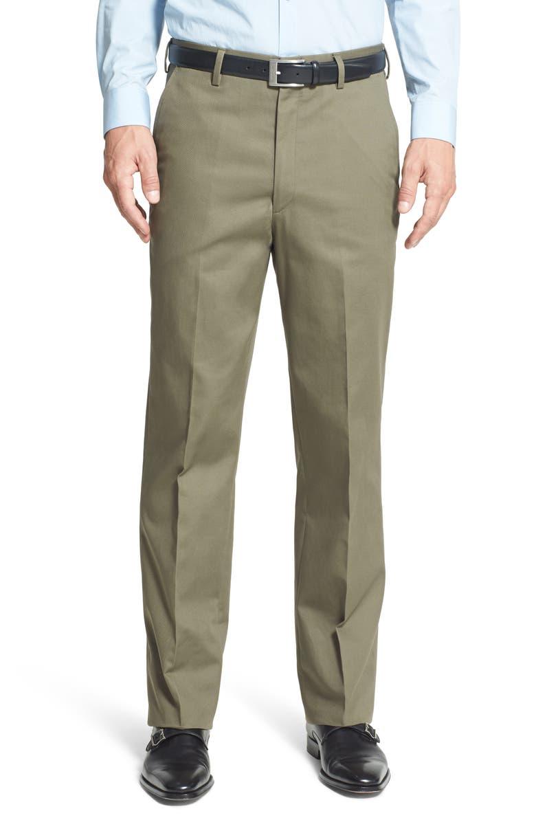 BERLE Flat Front Classic Fit Wrinkle Resistant Cotton Dress Pants, Main, color, OLIVE