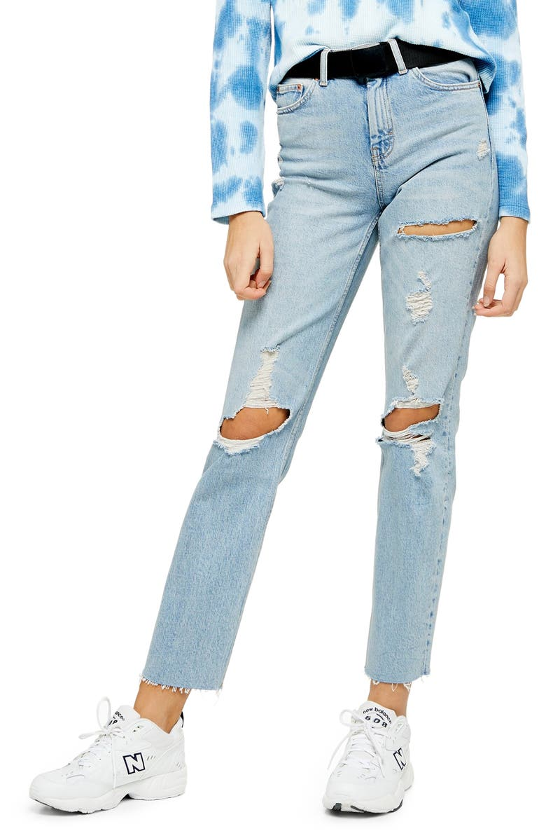 TOPSHOP Belted Straight Leg Jeans, Main, color, 400