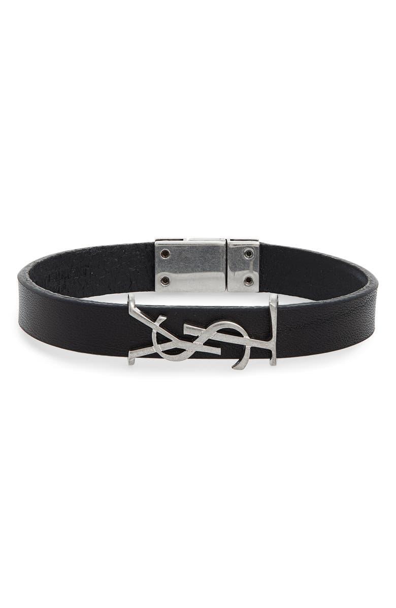 SAINT LAURENT Opyum YSL Leather Bracelet, Main, color, NERO/ SILVER