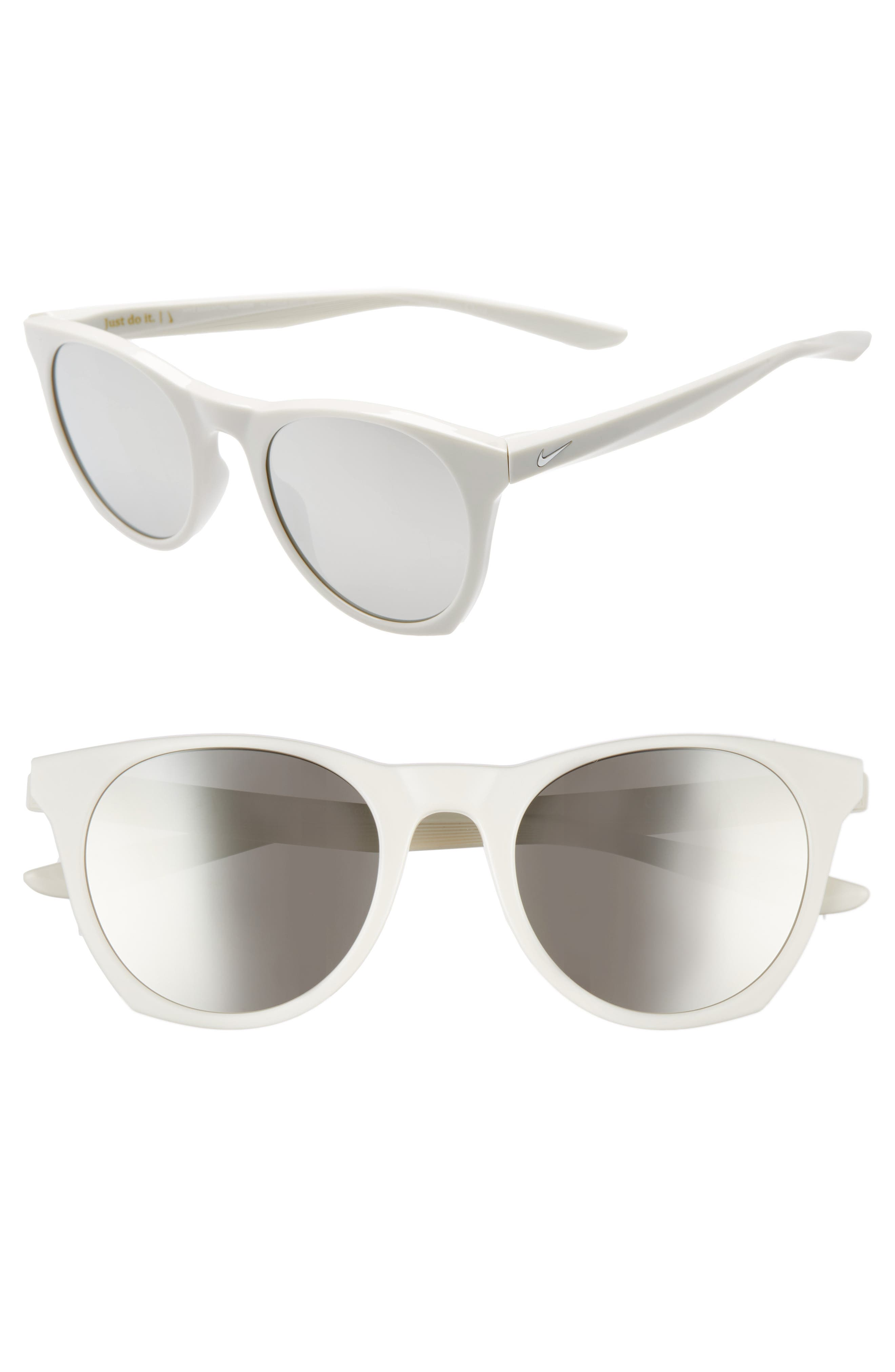 Nike Essential Horizon 51Mm Mirror Sunglasses - Light Bone Grey/ Grey