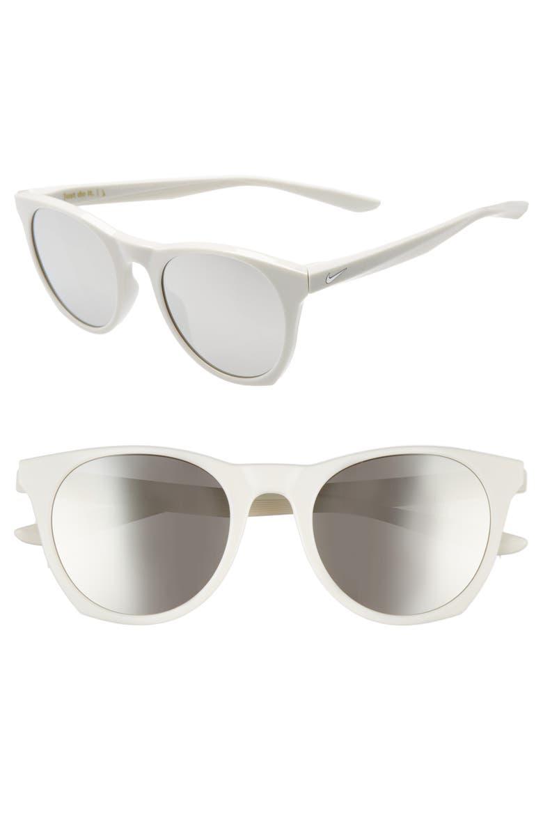 NIKE Essential Horizon 51mm Mirror Sunglasses, Main, color, LIGHT BONE GREY/ GREY