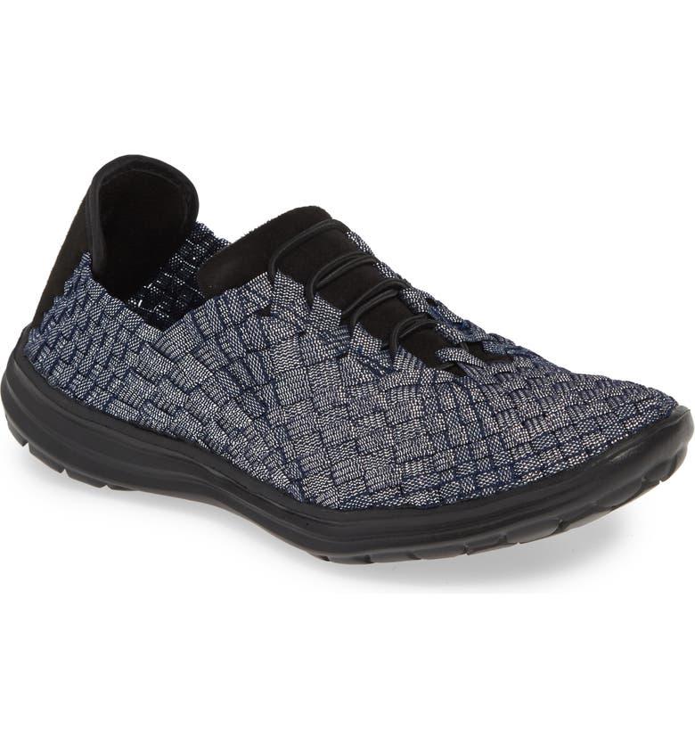 BERNIE MEV. 'Victoria' Woven Elastic Sneaker, Main, color, NAVY SHIMMER FABRIC