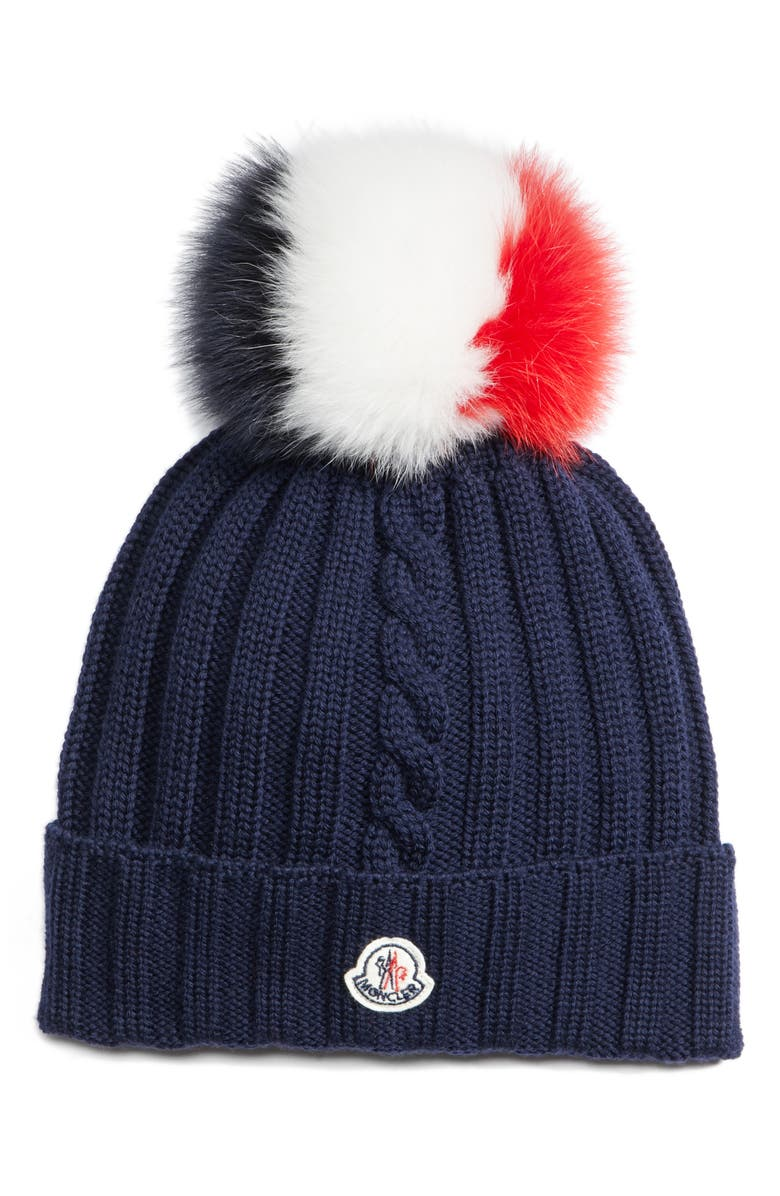MONCLER Genuine Fox Fur Pom Wool Hat, Main, color, 419