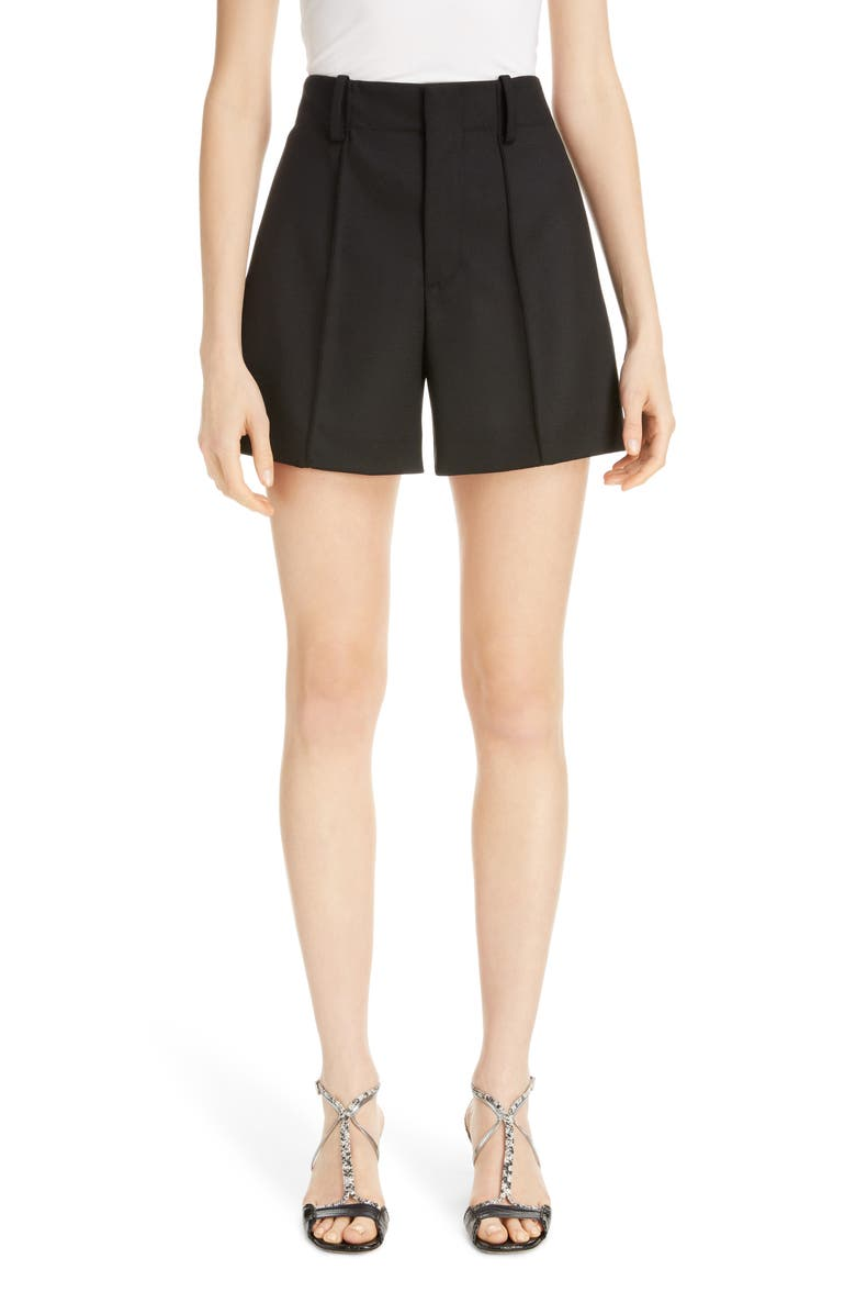 CHLOÉ Pintucked Stretch Wool Shorts, Main, color, BLACK
