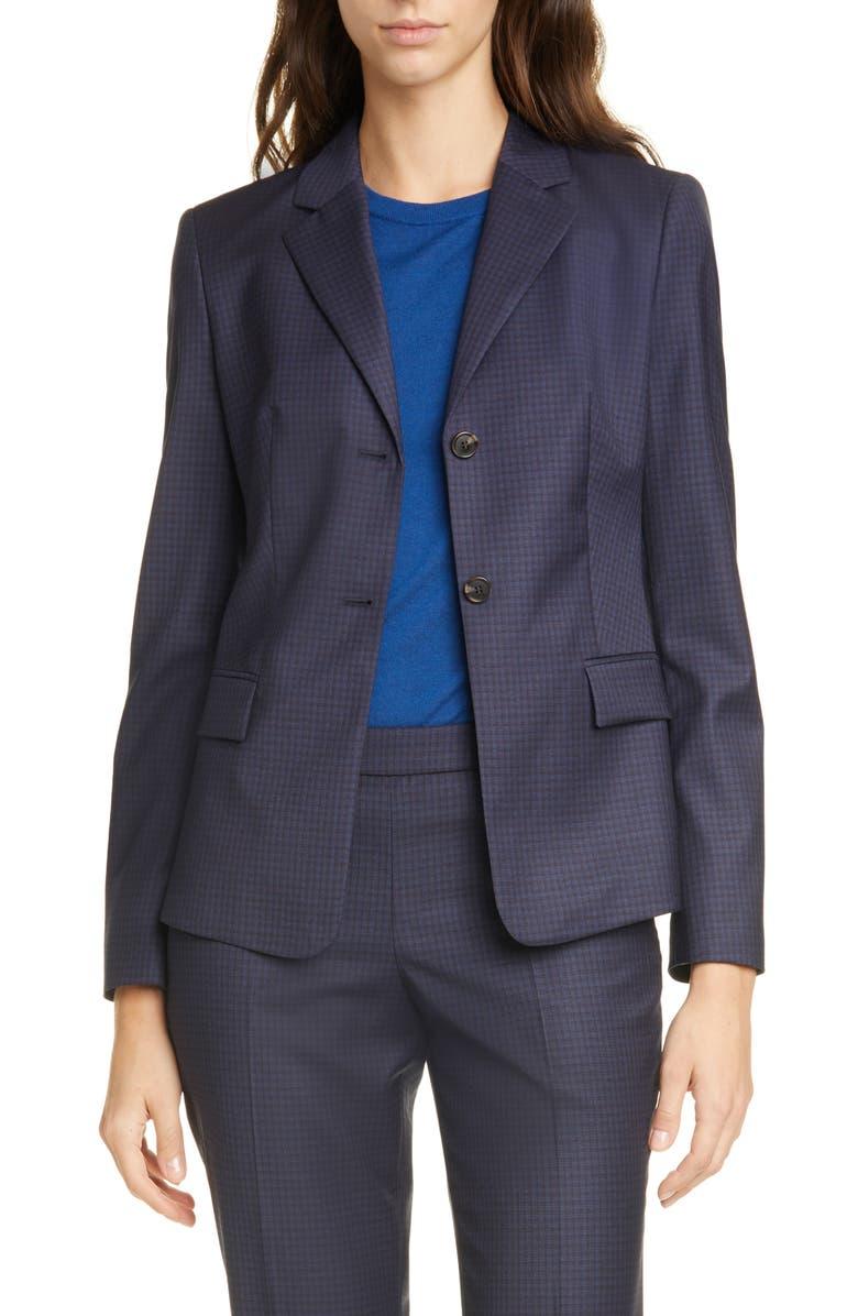 BOSS Jatinda Shadow Check Virgin Wool Jacket, Main, color, MIDNIGHT FANTASY