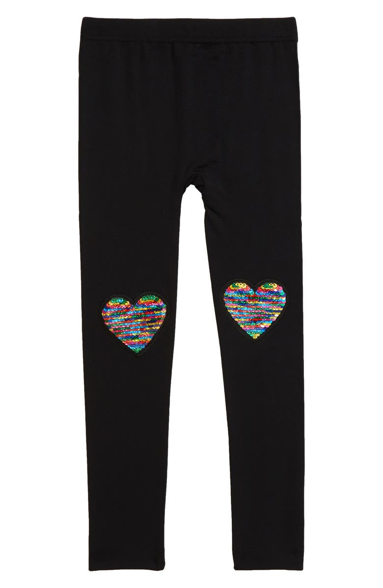 CAPELLI NEW YORK Reverse Rainbow Heart Leggings, Main, color, BLACK