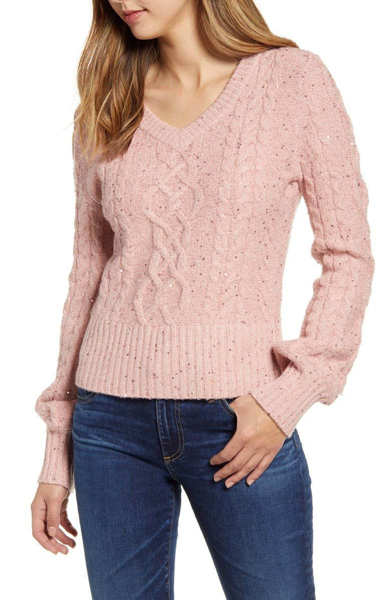 RACHEL PARCELL Sequin Cable Knit Puff Sleeve Sweater, Main, color, PINK SMOKE