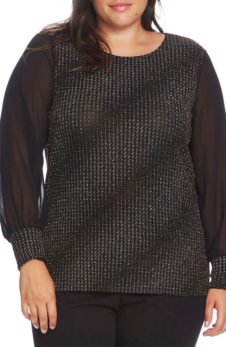 VINCE CAMUTO Chiffon Sleeve Metallic Detail Top, Main, color, RICH BLACK