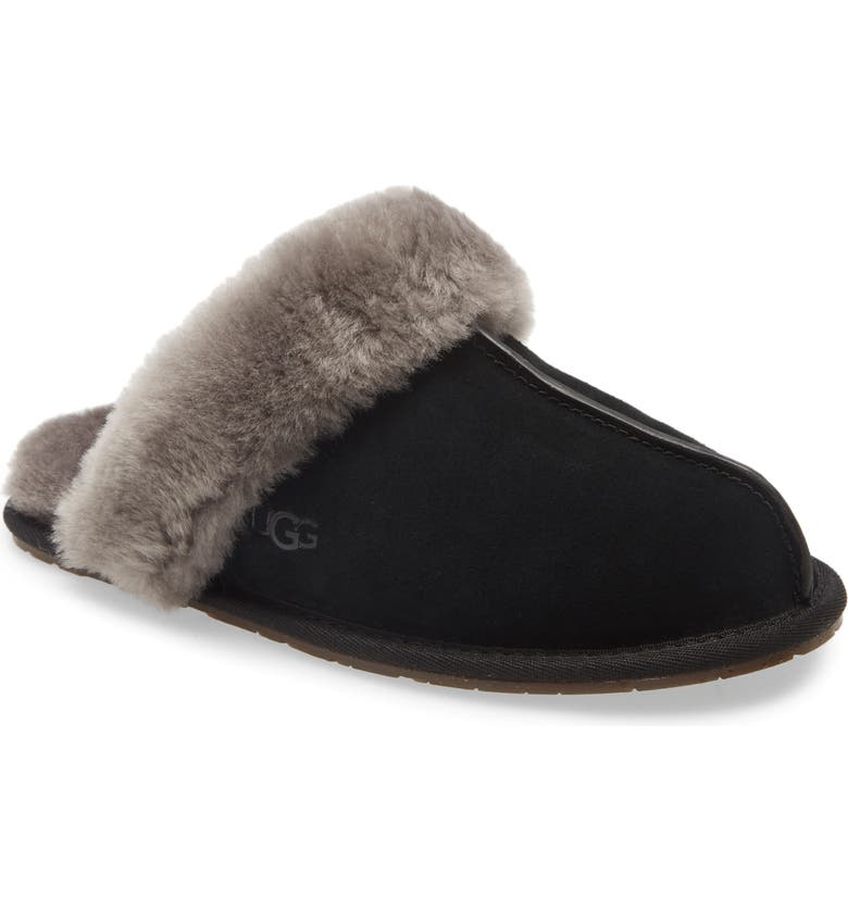 UGG<SUP>®</SUP> Scuffette II Slipper, Main, color, BLACK/ GREY SUEDE