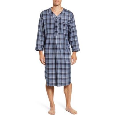 Majestic International Plaid Cotton Flannel Nightshirt, Blue