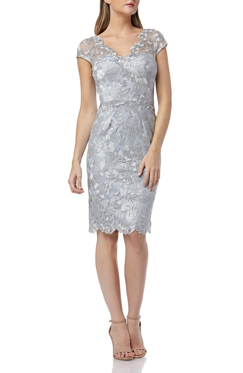 CARMEN MARC VALVO INFUSION Metallic Lace Cocktail Dress, Main, color, 040