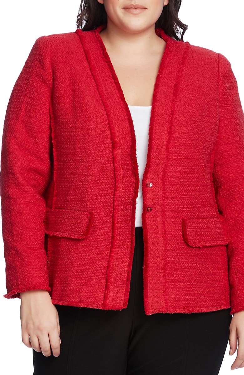 VINCE CAMUTO Cotton Tweed Jacket, Main, color, RHUBARB