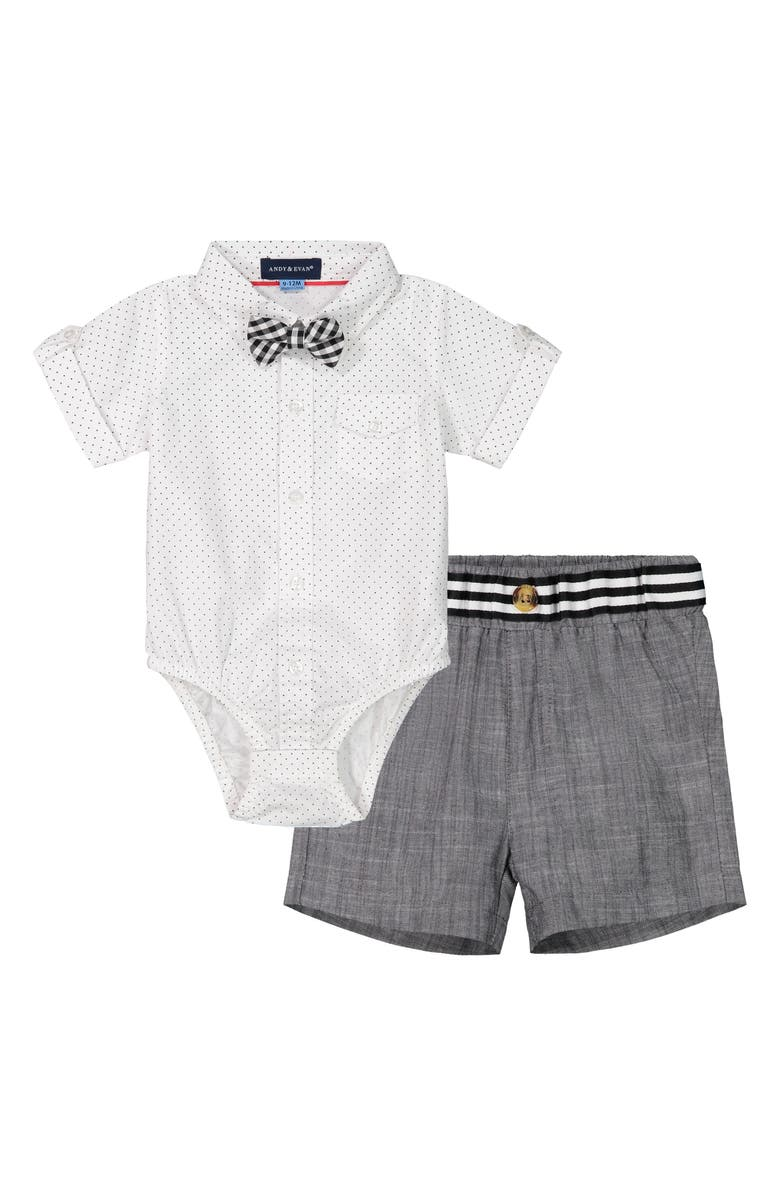 ANDY & EVAN Bodysuit, Shorts & Bow Tie Set, Main, color, WHITE