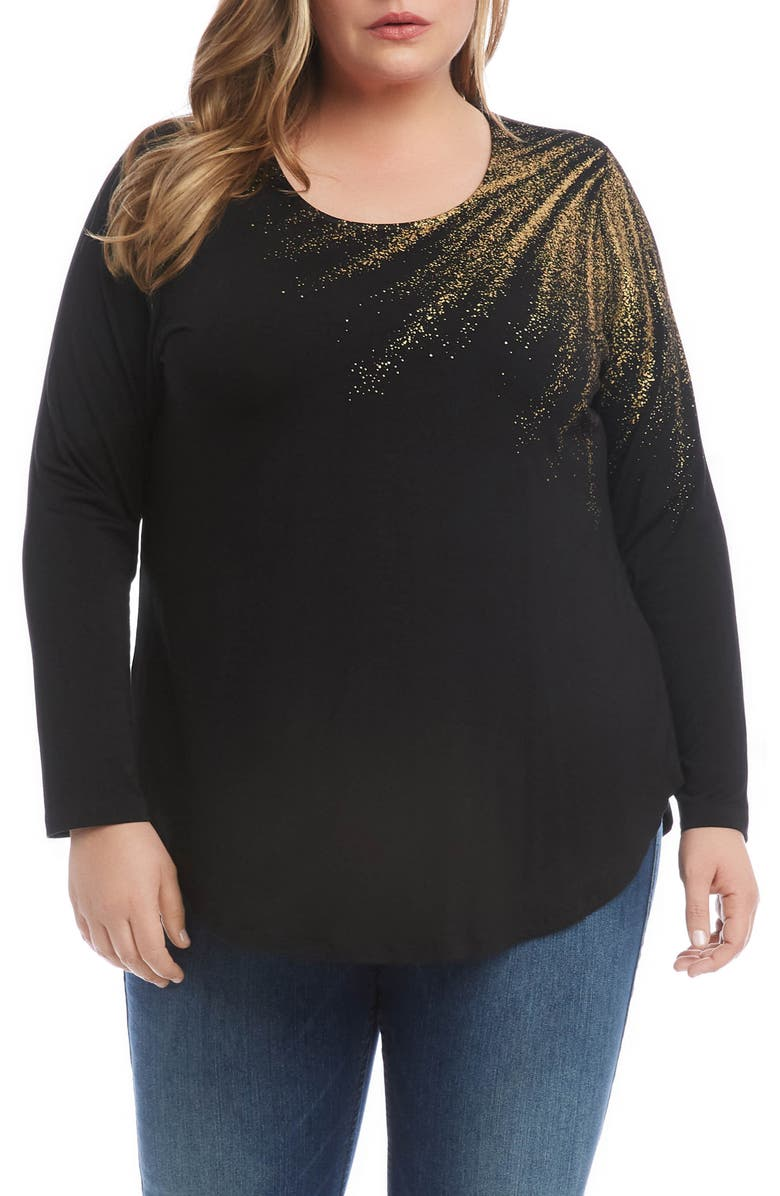 KAREN KANE Metallic Graphic Long Sleeve Jersey Top, Main, color, BLACK