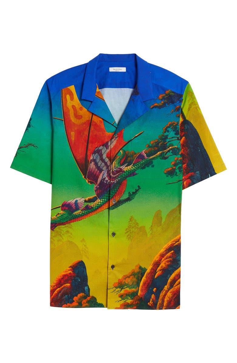 VALENTINO Dragon at Dawn Button-Up Short Sleeve Shirt, Main, color, 407