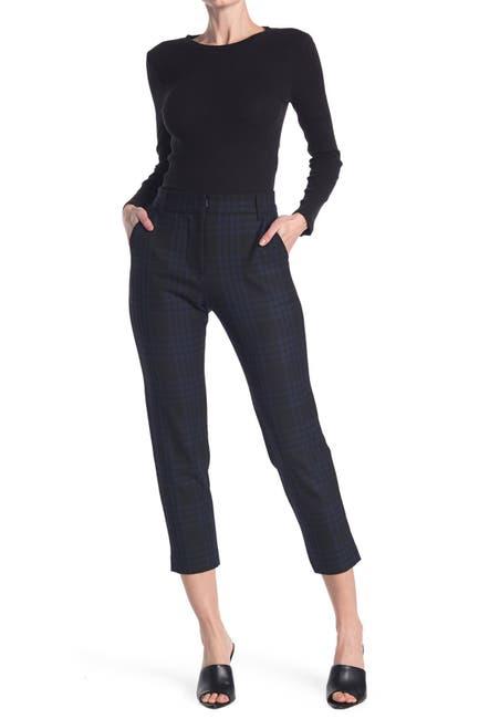 Image of Velvet Plaid Straight Leg Trousers