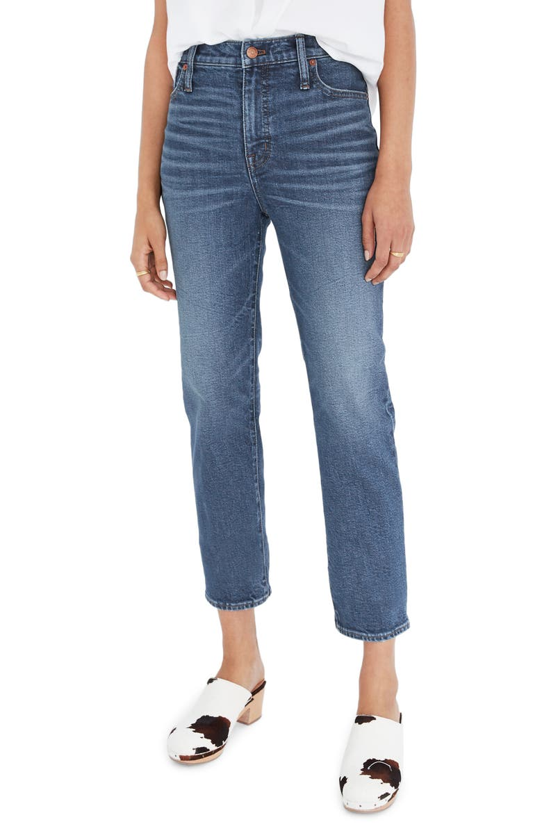 MADEWELL Mid Rise Classic Straight Jeans, Main, color, CARSONDALE WASH