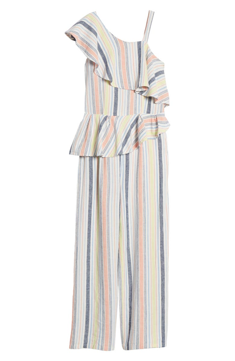 HABITUAL GIRL Habitual Stripe Ruffle One-Shoulder Jumpsuit, Main, color, 650