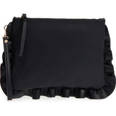 Sole Society Adelina Faux Leather Ruffle Clutch - Black