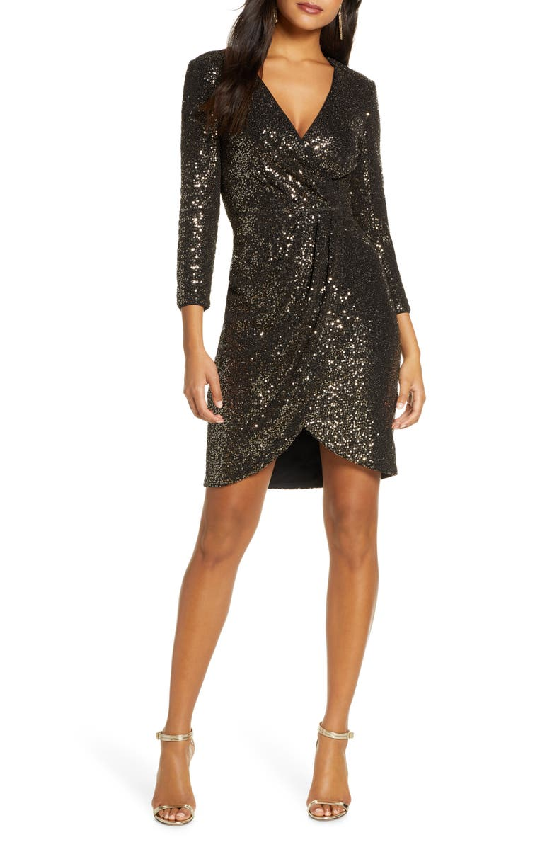 ELIZA J Faux Wrap Sequin Cocktail Dress, Main, color, BLACK GOLD