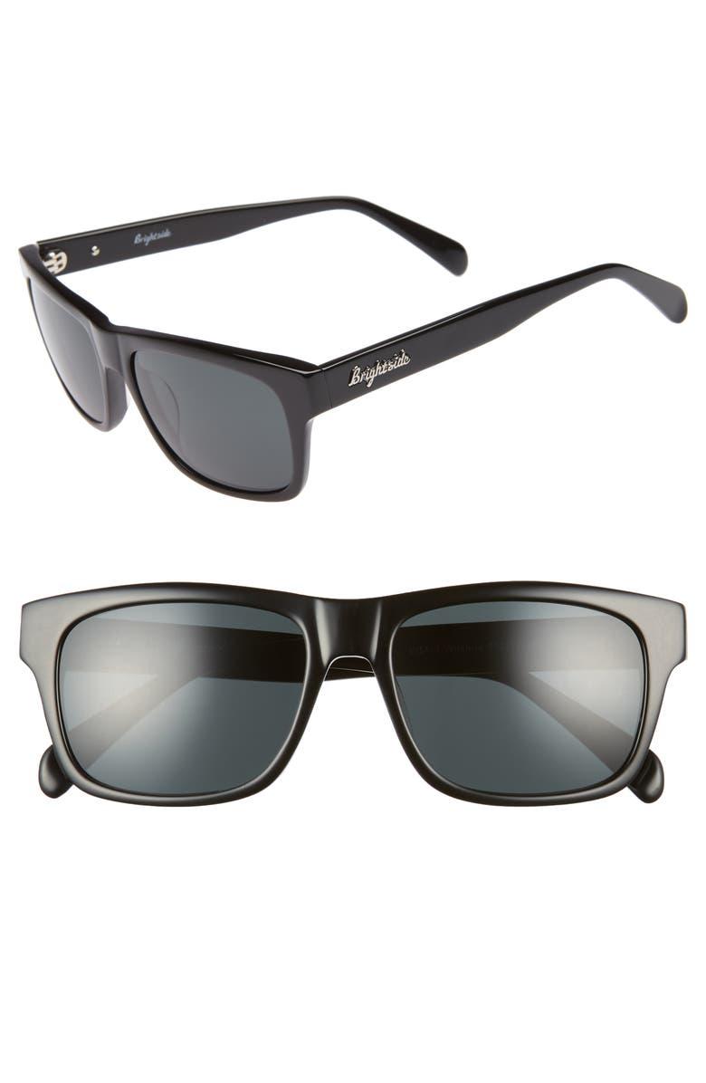 BRIGHTSIDE Wilshire 55mm Square Sunglasses, Main, color, BLACK/ GREY