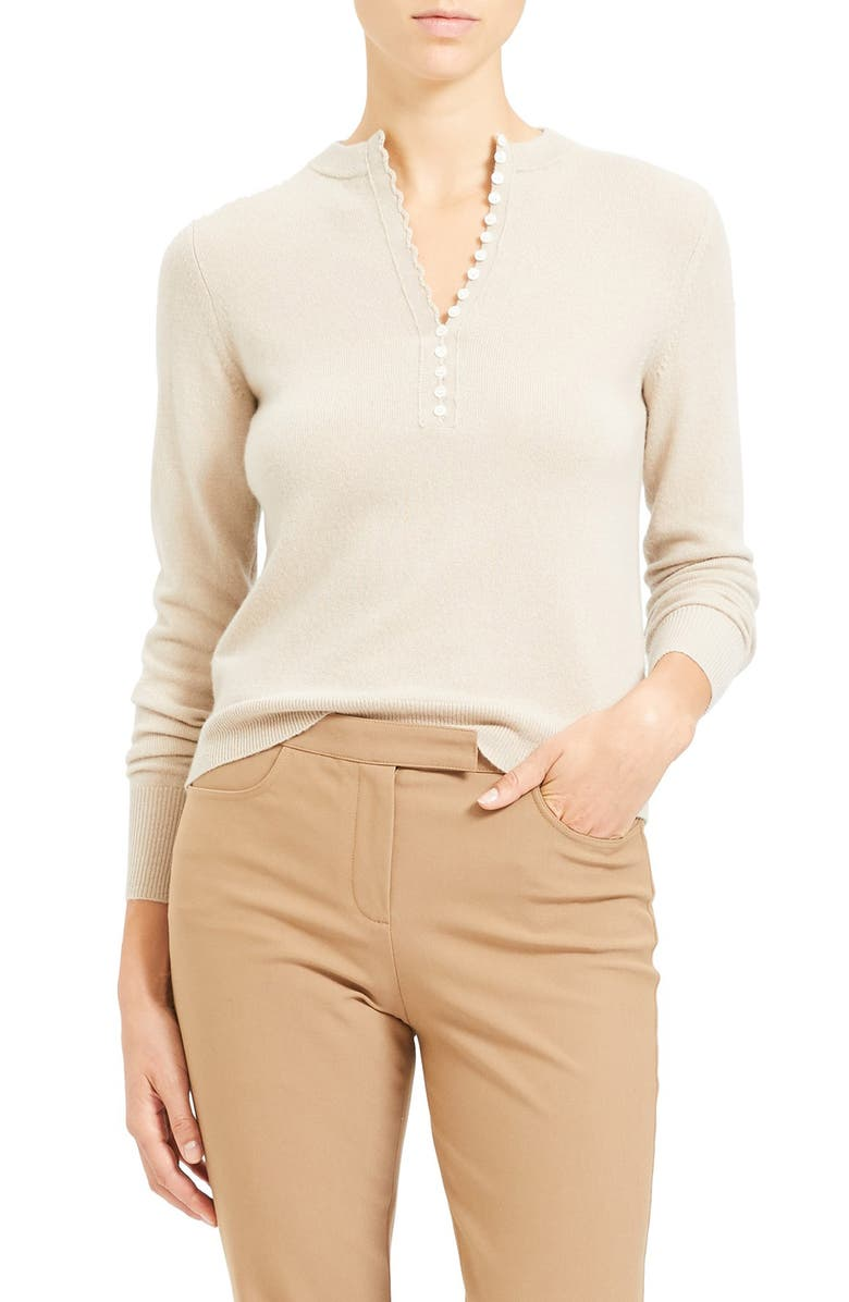 THEORY Cashmere Henley Sweater, Main, color, OATMEAL