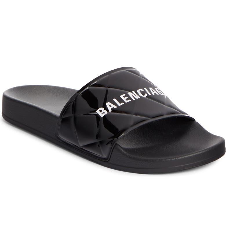 BALENCIAGA Patent Leather Slide Sandal, Main, color, BLACK/ WHITE