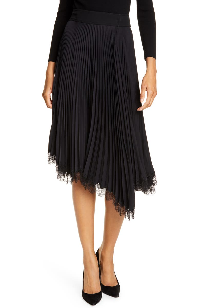 A.L.C. Adele Pleated Lace Trim Asymmetrical Skirt, Main, color, BLACK