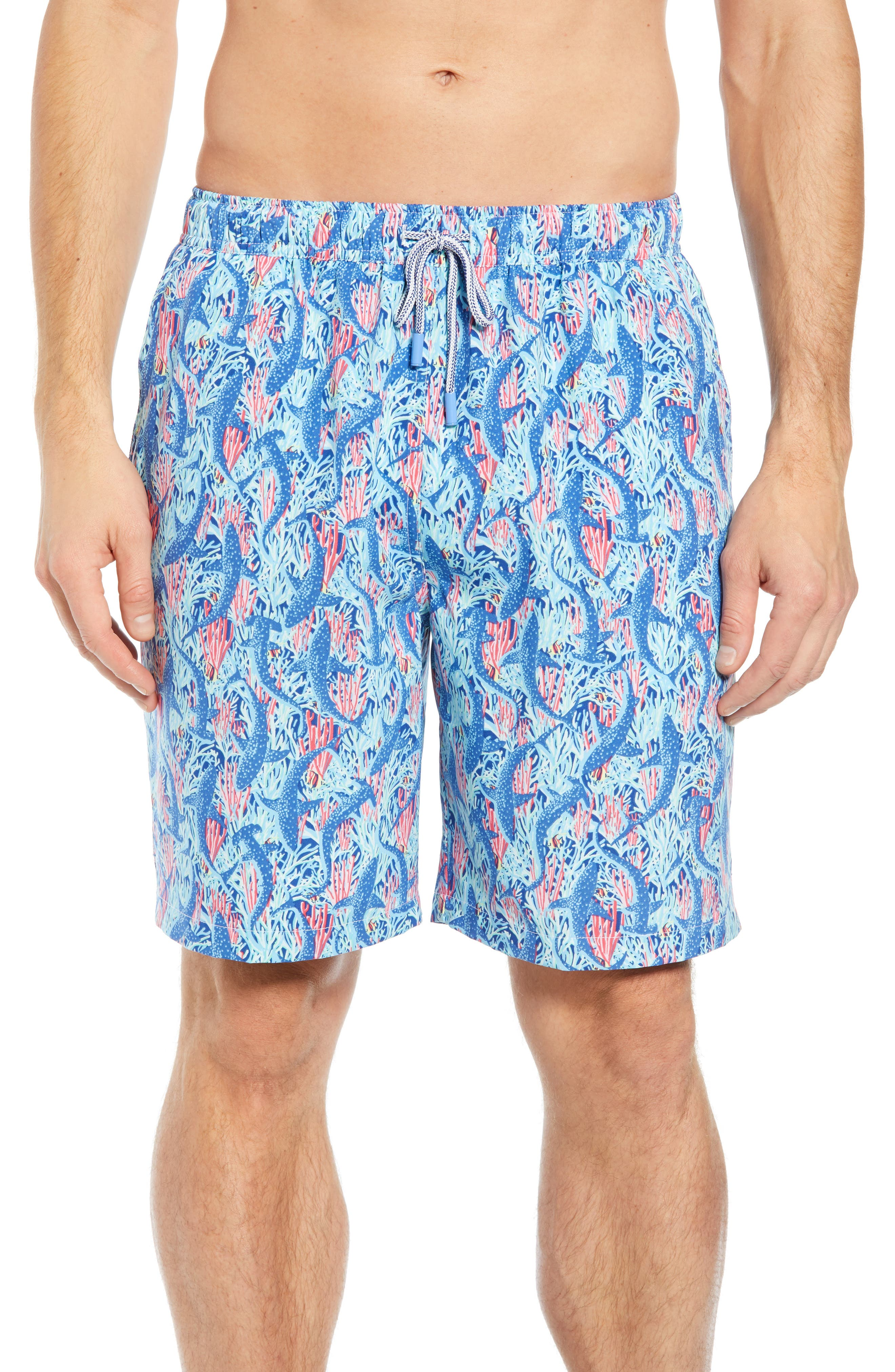 Peter Millar Sharks Swim Trunks, Blue