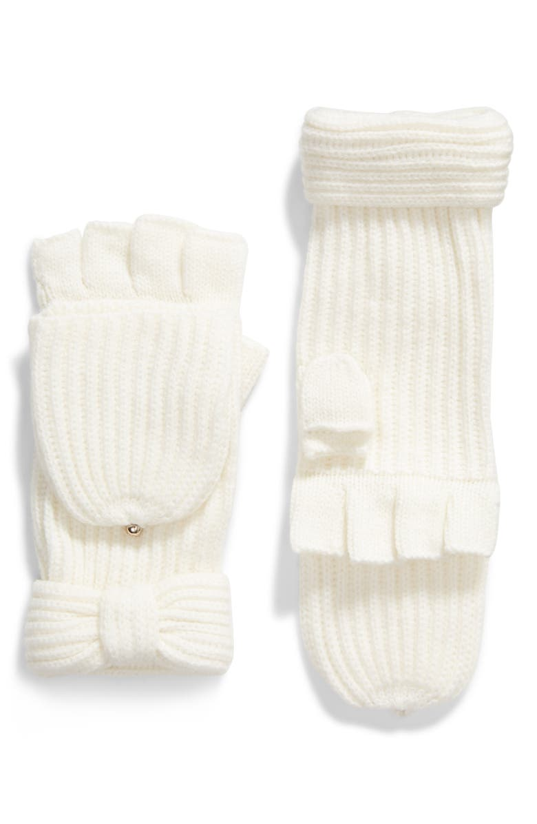 KATE SPADE NEW YORK solid bow pop top gloves, Main, color, CREAM