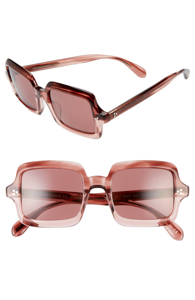 OLIVER PEOPLES Avri 50mm Polarized Square Sunglasses, Main, color, BROWN/ ROSE