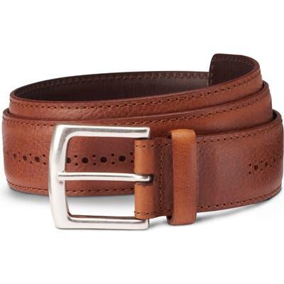 Allen Edmonds Brogue Street Leather Belt, Cognac