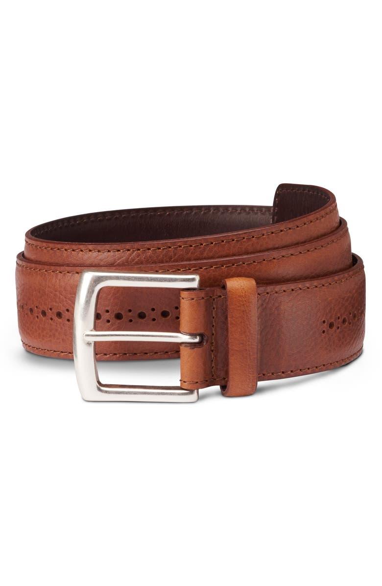 ALLEN EDMONDS Brogue Street Leather Belt, Main, color, COGNAC