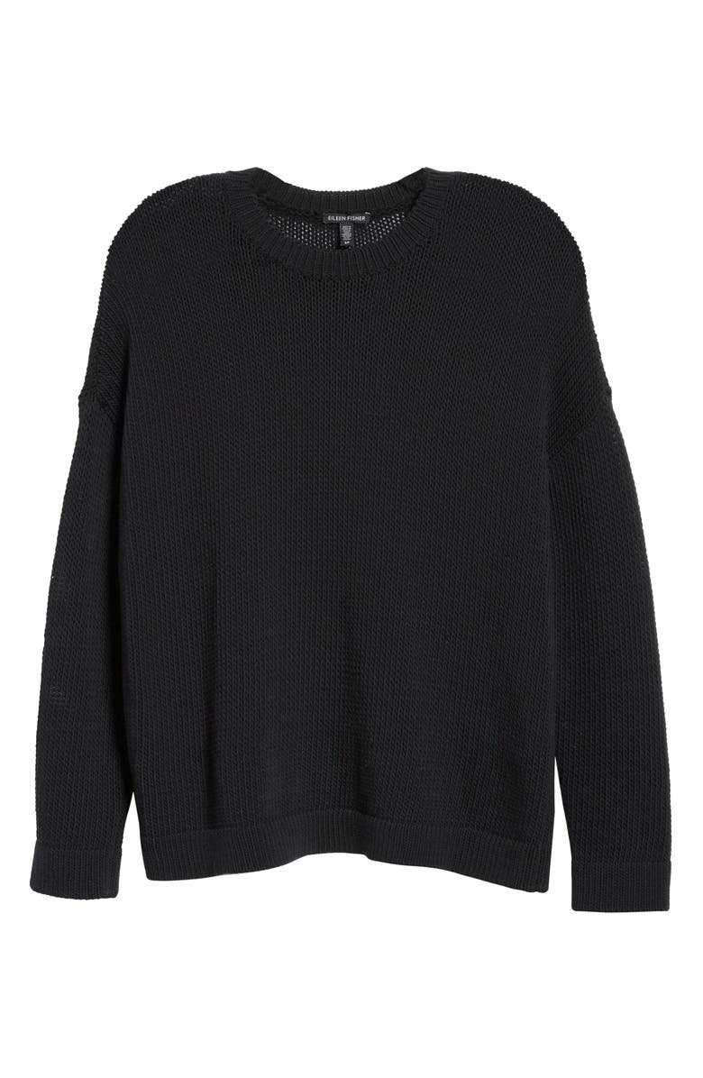 EILEEN FISHER Organic Cotton Blend Sweater, Main, color, BLACK
