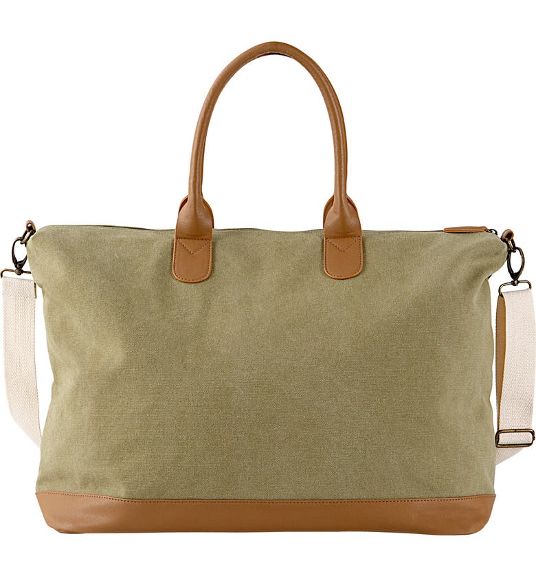 CATHY'S CONCEPTS Monogram Oversize Canvas Tote, Main, color, GREEN